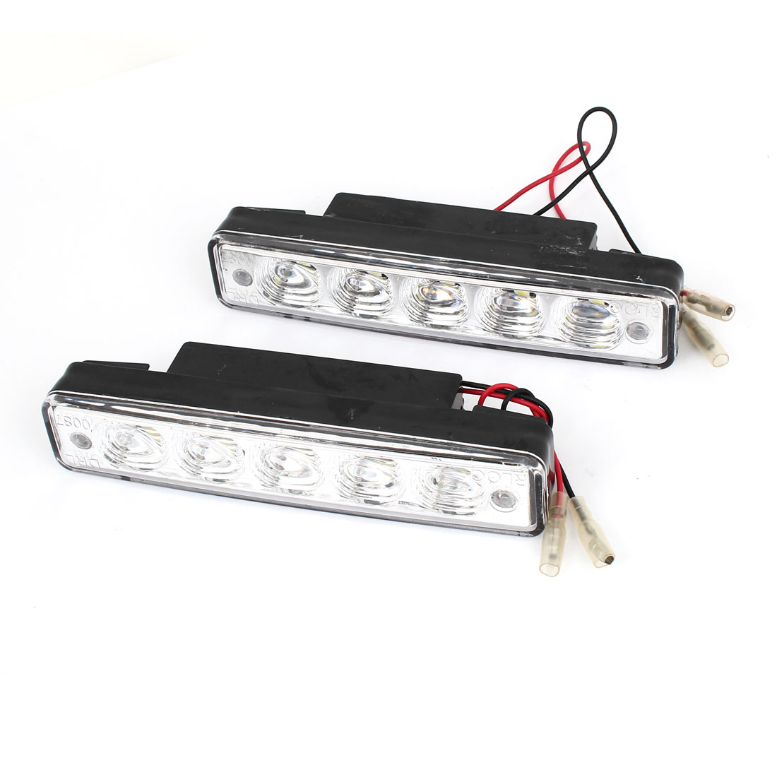 2 Pcs Plastic Shell Car White 5-LED DRL Daytime Running Light Driving Lamp 12V