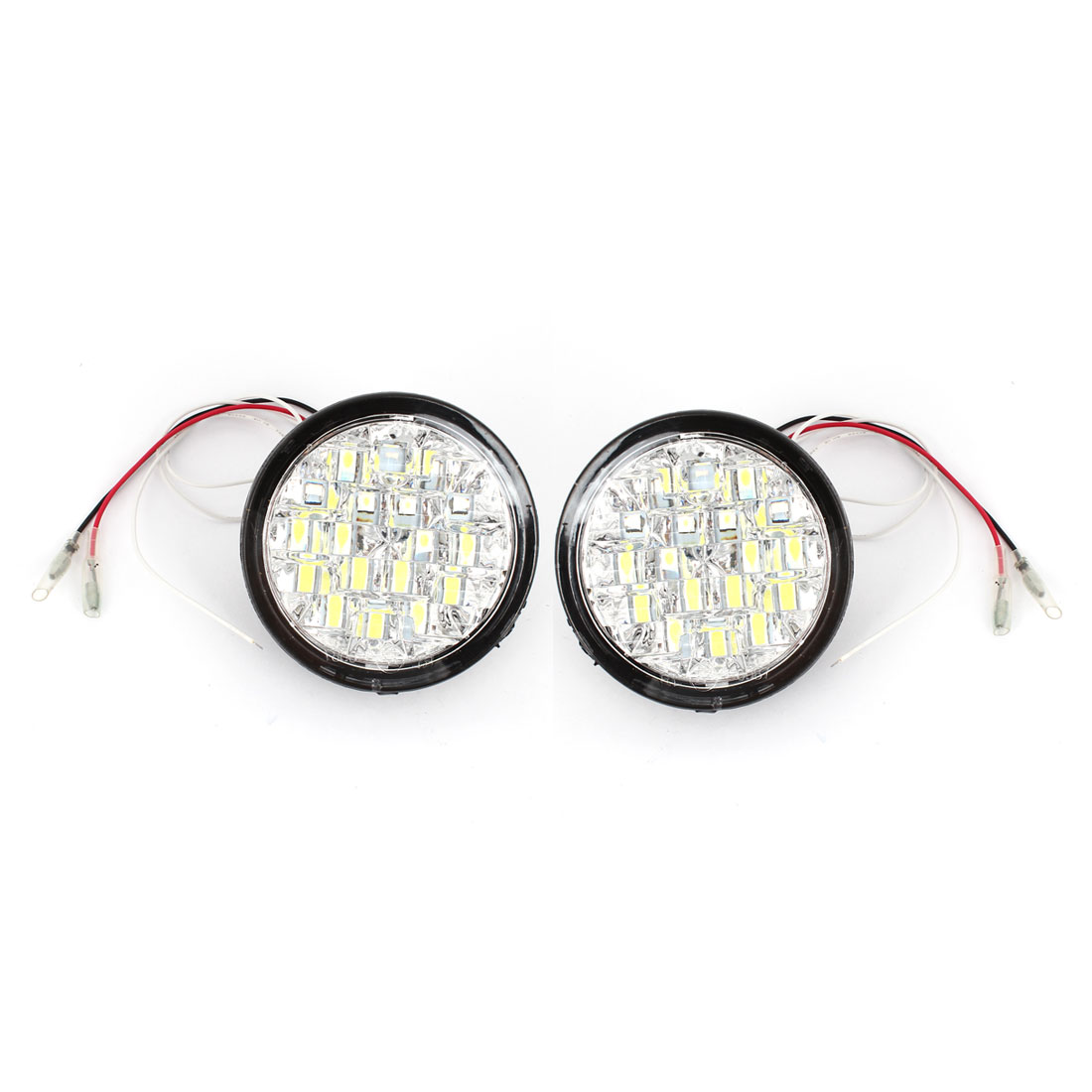 Pair Car White 18 LED 5050 SMD Round Daytime Running Lamp Headlight DC 12V