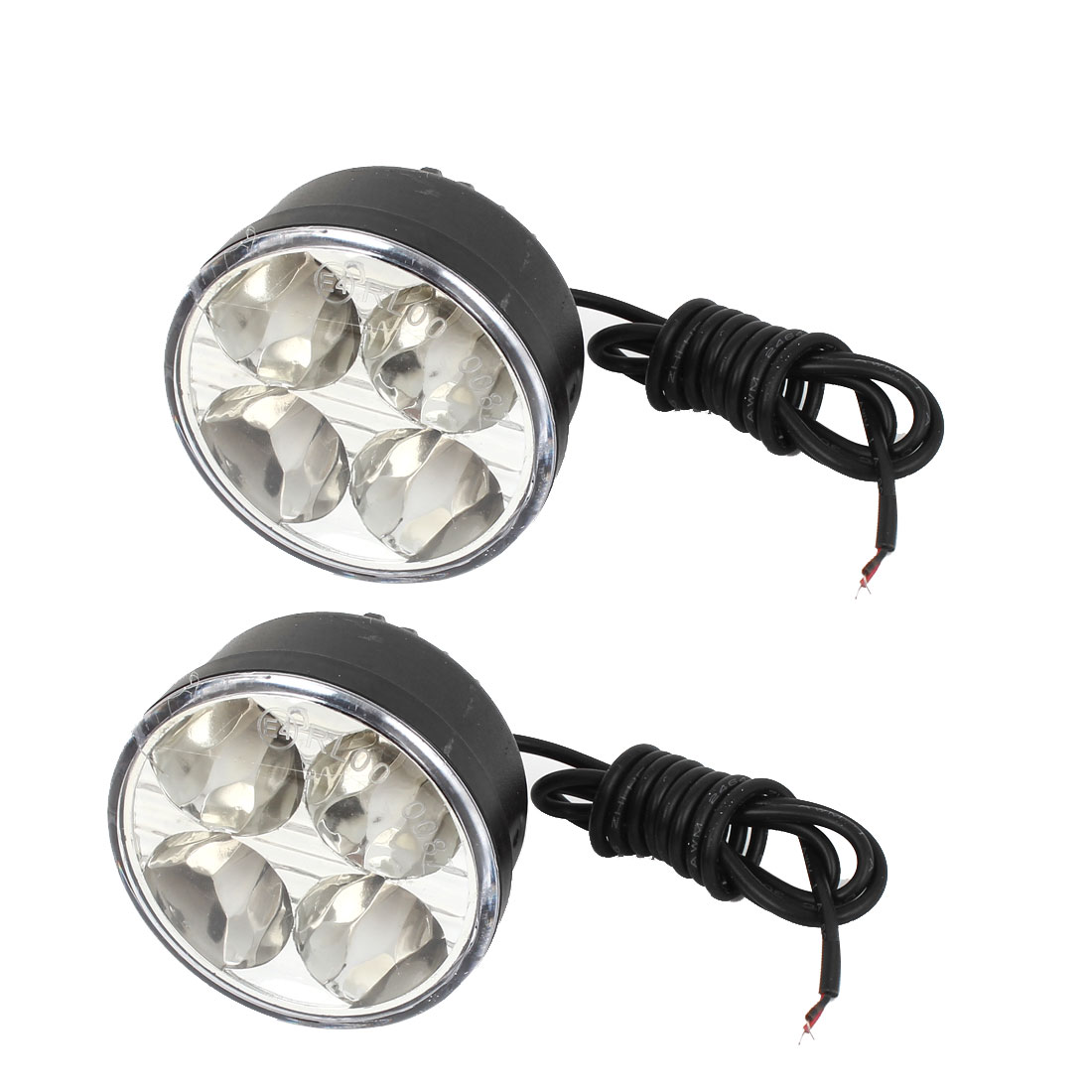 Pair Black Plastic Round Shell Car White 4 LED 5050 SMD Daytime Running Light