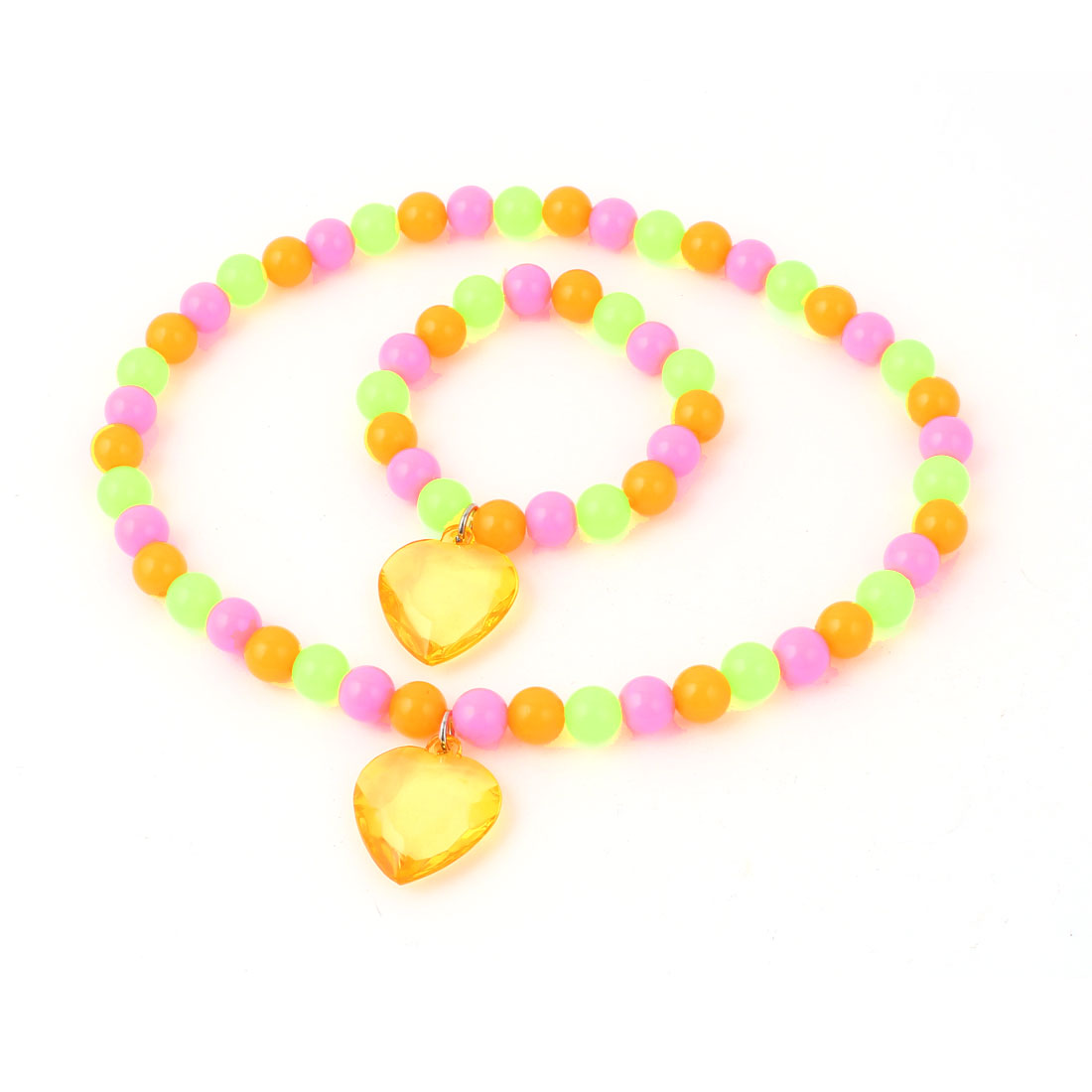 Green Pink Orange Stretchy Heart Shaped Pendant Beads Necklace w Bracelet for Lady