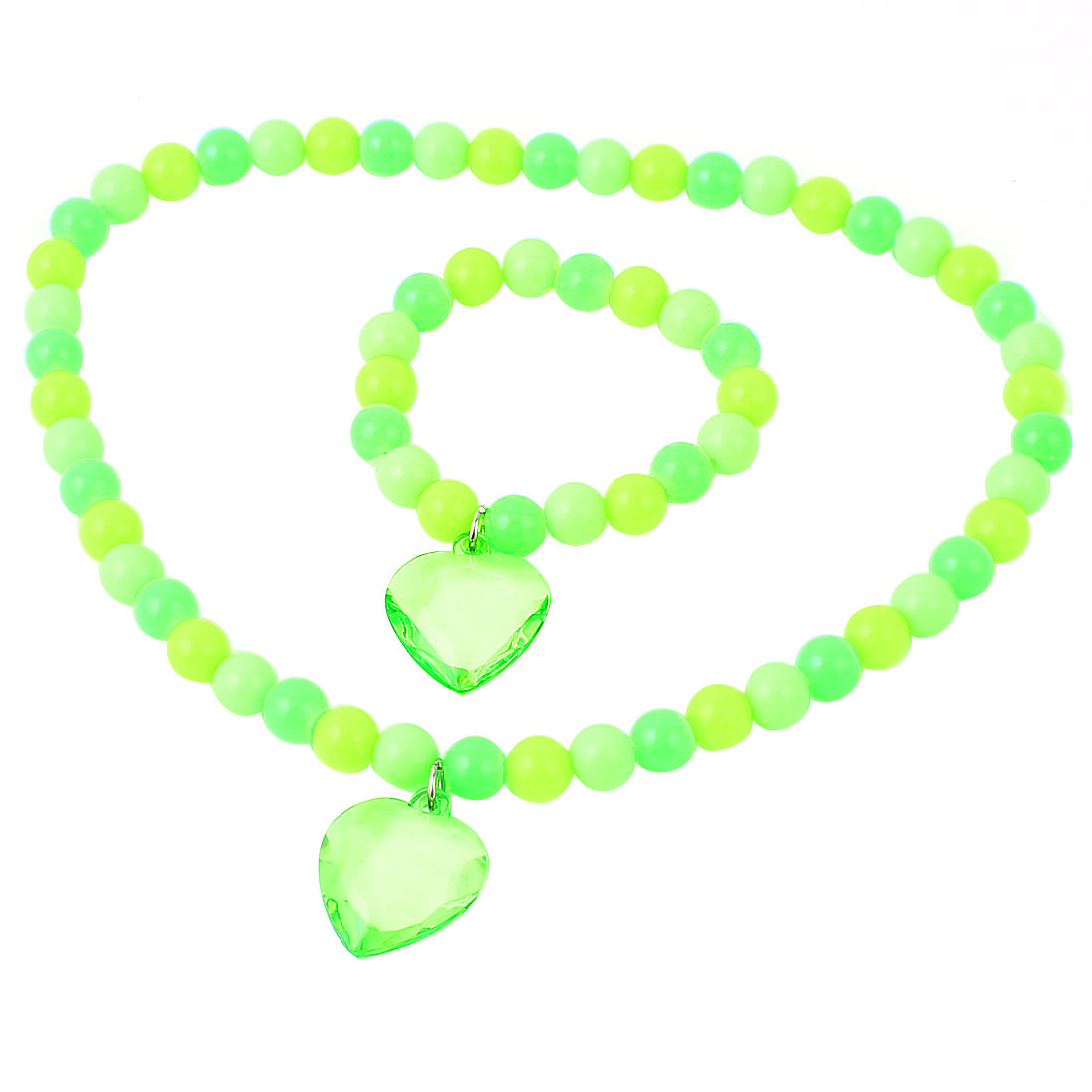 Green Yellow Stretchy Heart Shaped Pendant Beads Necklace w Bracelet for Lady
