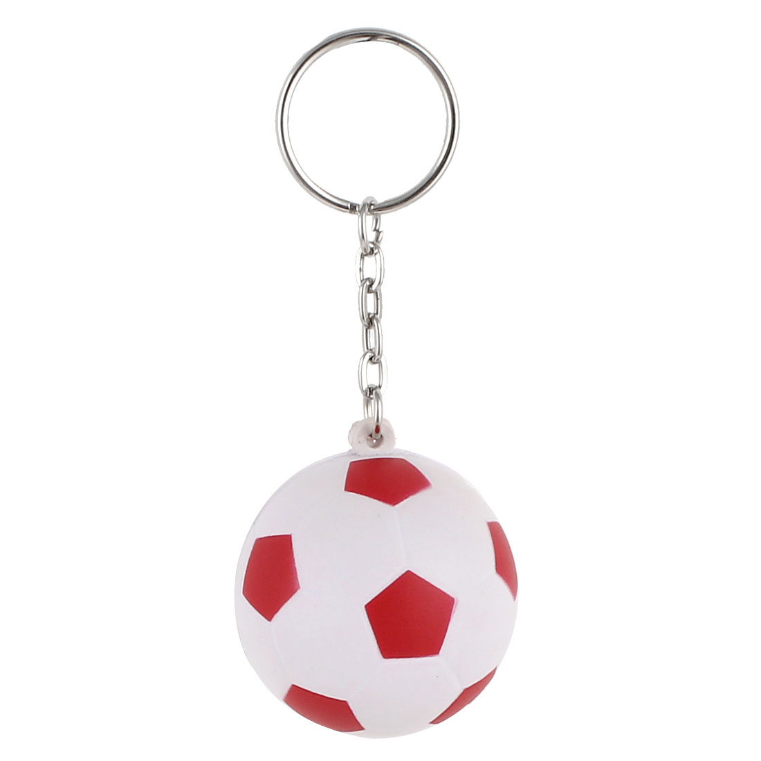 White Red Football Design Dangling Pendant Keychain Keyring Hanging Ornament