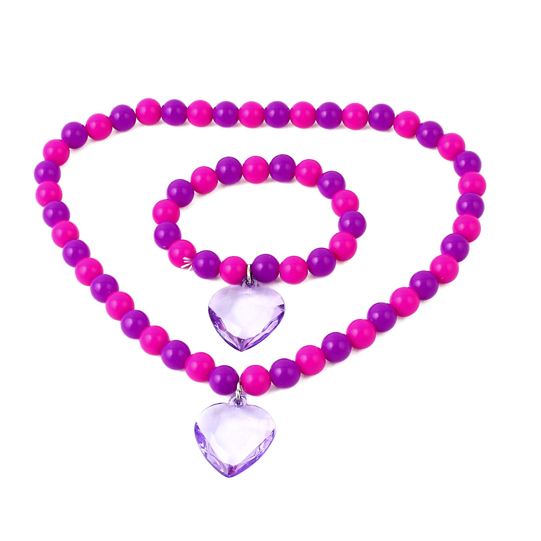 Purple Fuchsia Stretchy Heart Shaped Pendant Beads Necklace w Bracelet for Lady