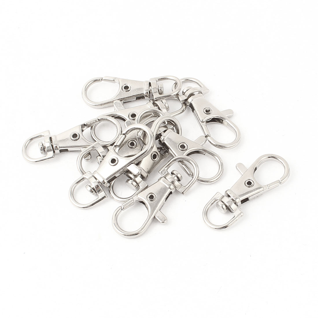 10Pcs Silver Tone Lobster Clasp Keychain Key Holder Hook Buckle Ring