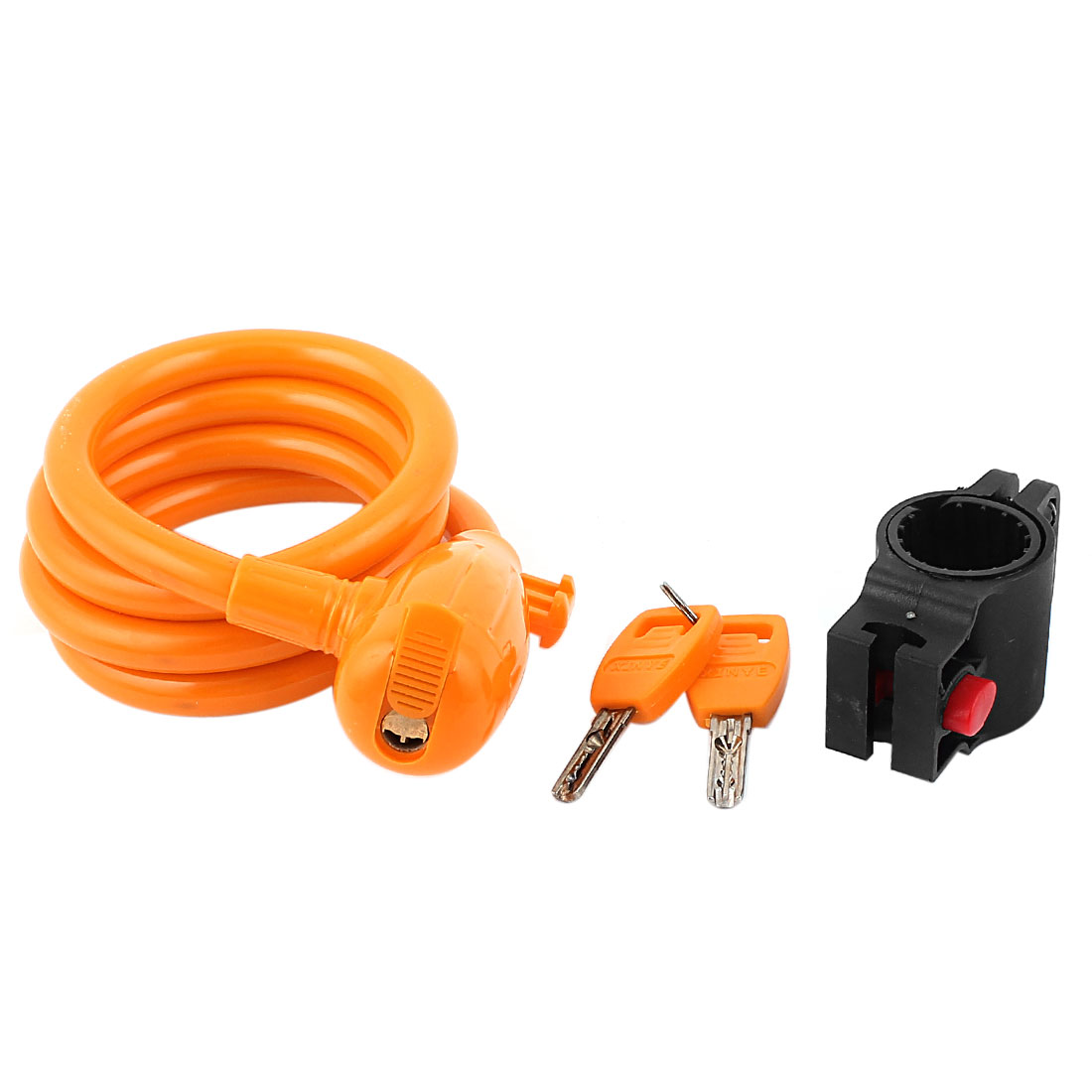 Orange 3.3Ft Length Bike Bicycle Cycling Security Spiral Cable Lock w 2 Keys