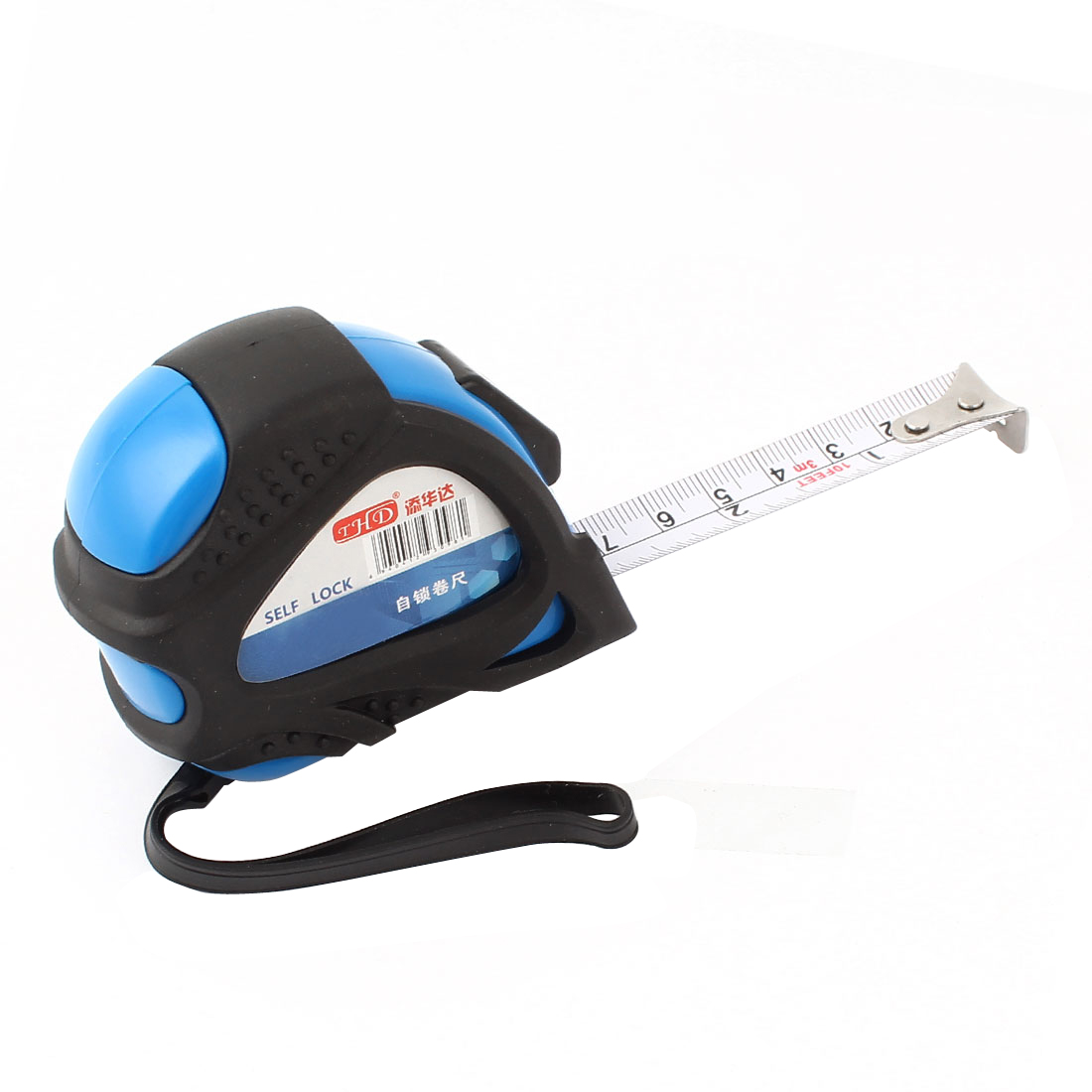 Black Blue Plastic Housing Self Lock Metric Measure Tape Ruler 0-3 Meters