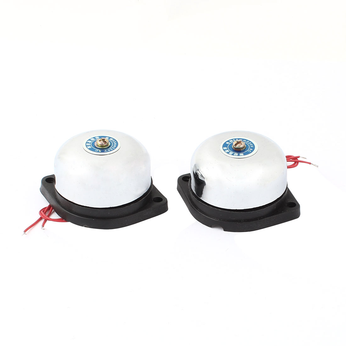 2 Pcs AC 220V School Factory Fire Alarm Electric Bell 55mm Dia Silver Tone Black