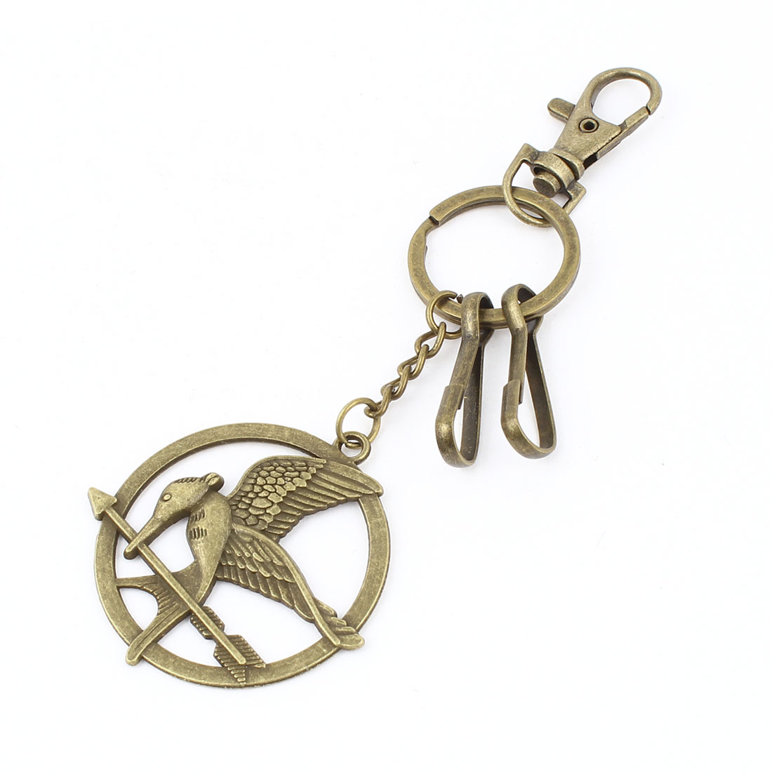 Bronze Tone Eagle Design Pendant Lobster Clasp Metal Split Ring Keychain Keyring Decor