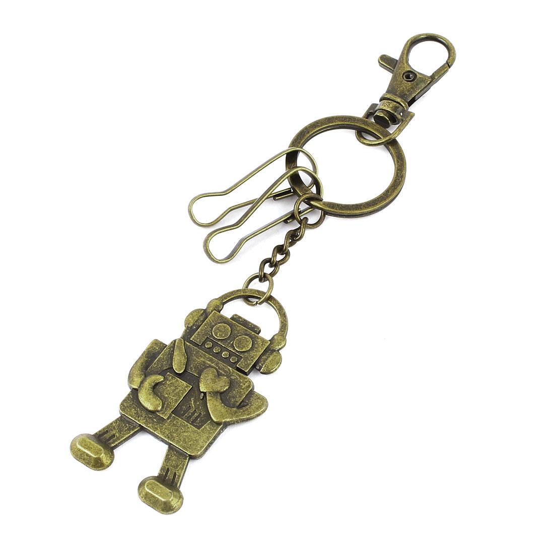 Bronze Tone Robot Design Pendant Lobster Clasp Metal Split Ring Keychain Keyring Decor