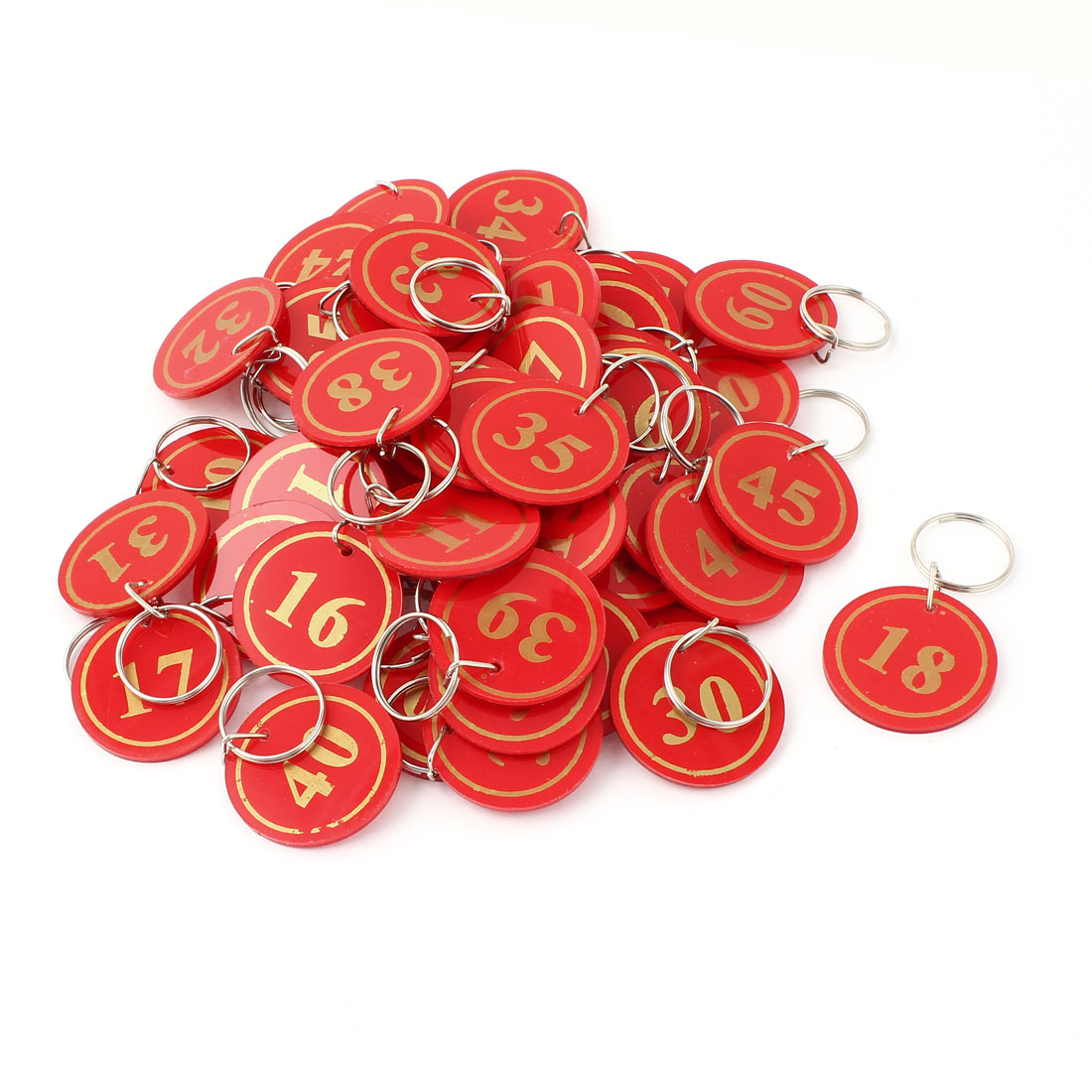 50Pcs Red Plastic Round Suitcase Luggage Supermarket Stock Metal Split Ring Key Tags
