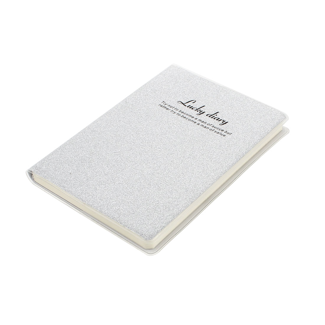 PVC Cover Gray Glitter Powder Decor Diary Memo Book Notepad 80 Sheets