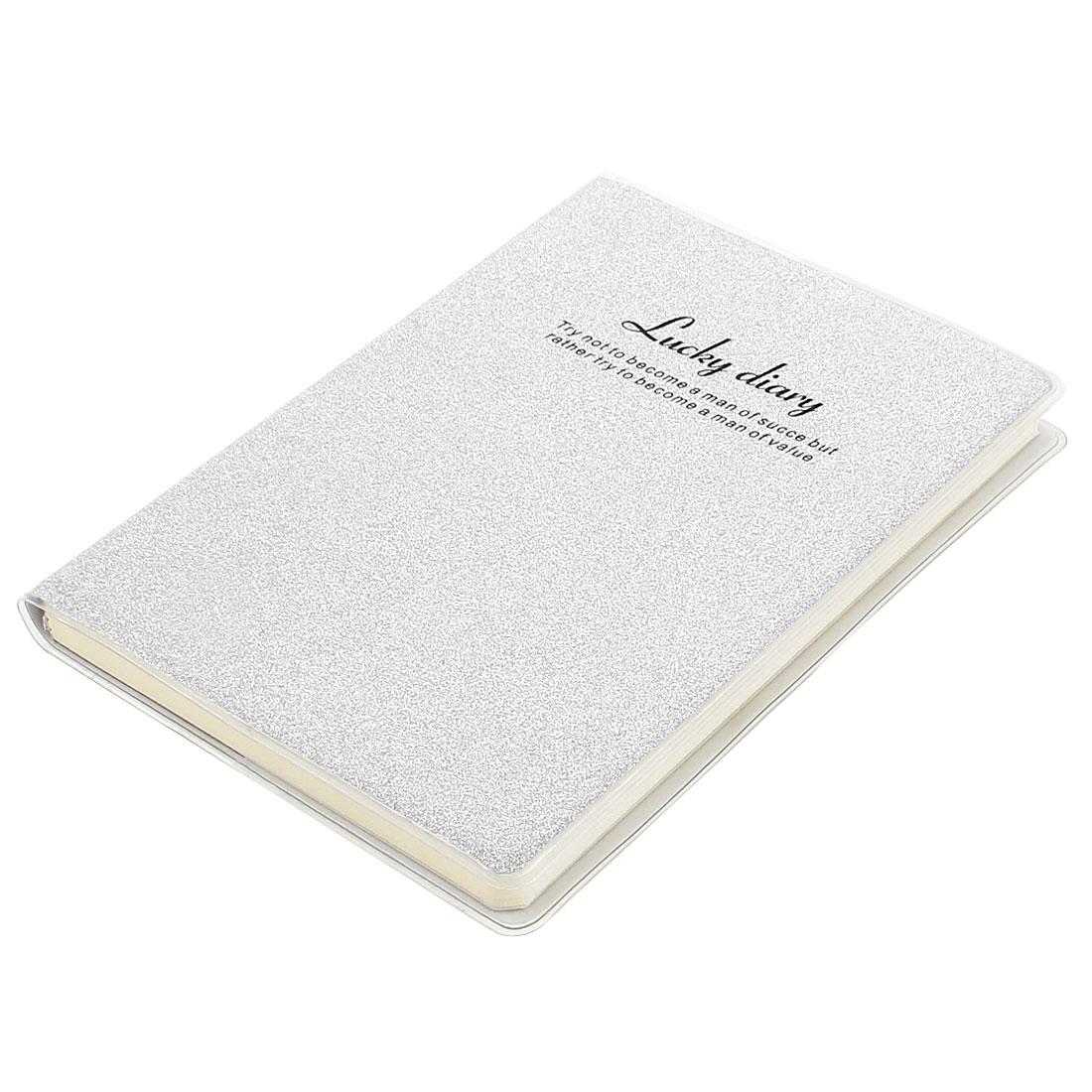 PVC Cover Silver Tone Glitter Powder Decor Diary Memo Book Notepad 80 Sheets