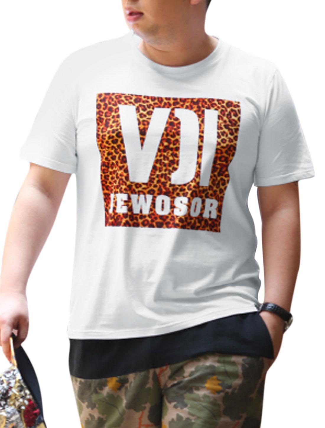 Men Pullover Leopard Letters Prints Leisure T-shirt White L
