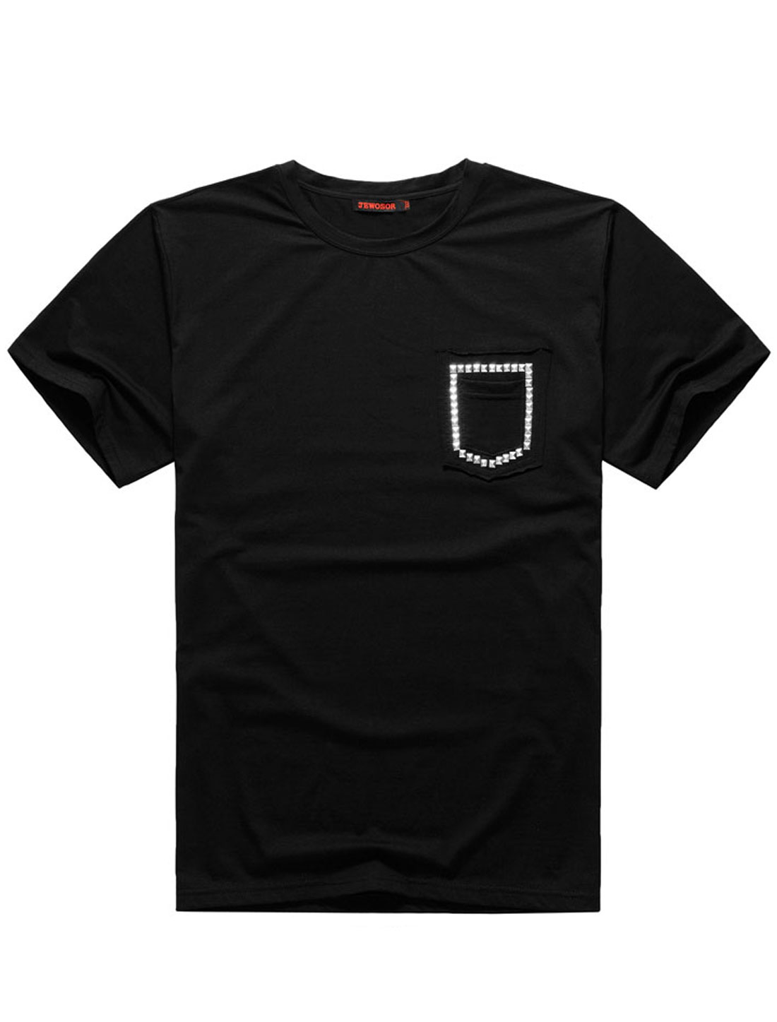 Men Short Sleeve Rivet Embellished Ribbed Trim Leisure T-Shirt Black L