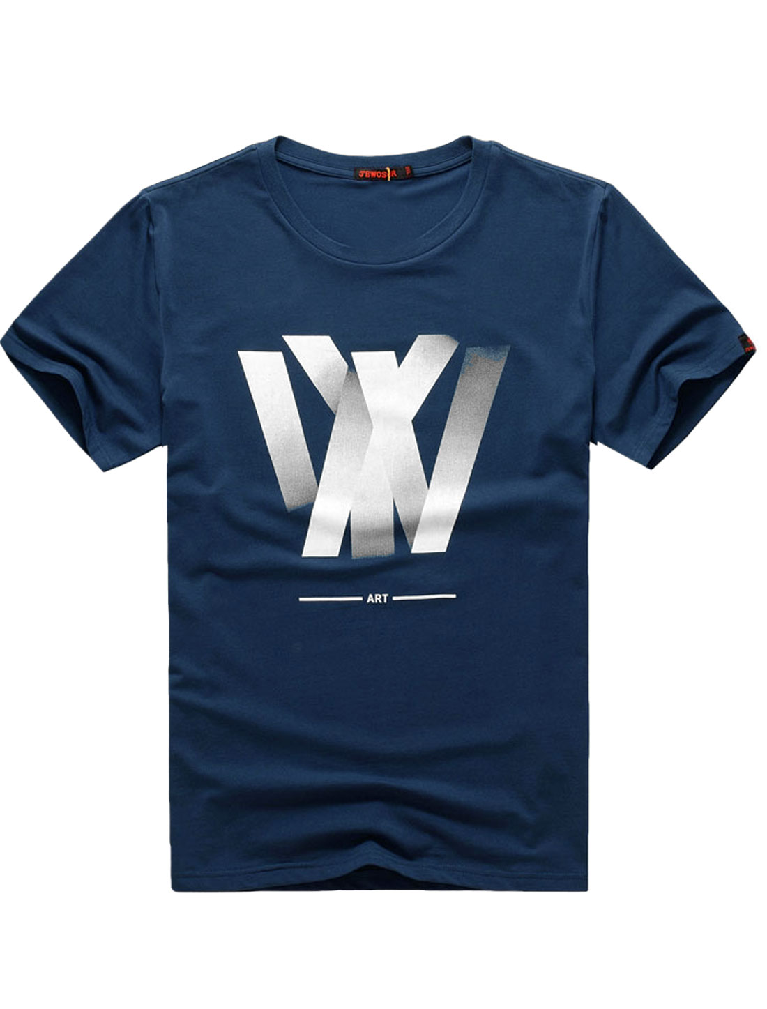 Man Navy Blue Short Sleeves Pullover Round Neck Letters Prints Casual T-Shirt M
