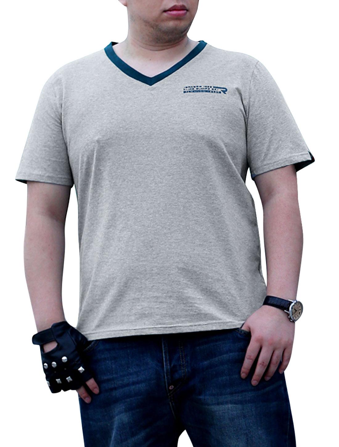 Men V Neckline Design Slipover Fashion T-Shirt Light Gray L