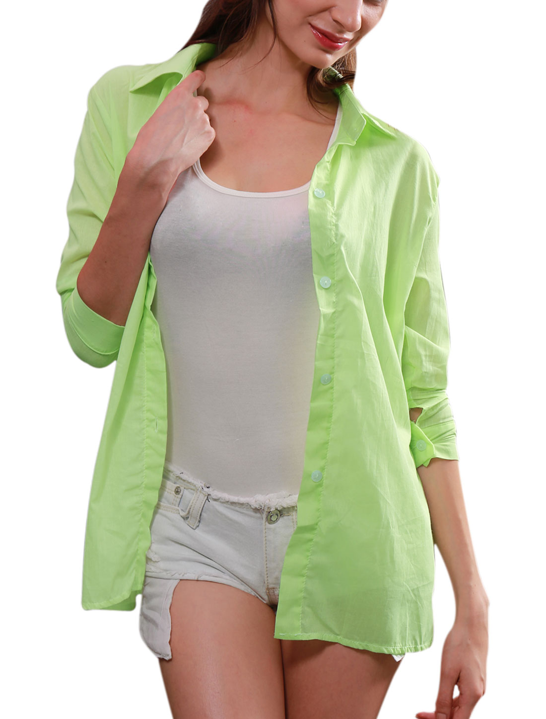 Ladies Light Green Point Collar 3/4 Sleeve Split Side Button Cuffs Casual Shirt XS
