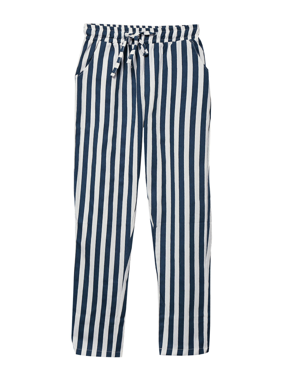 Women Stripes Drawstring Waist Slant Pockets Casual Pants Navy Blue White XS