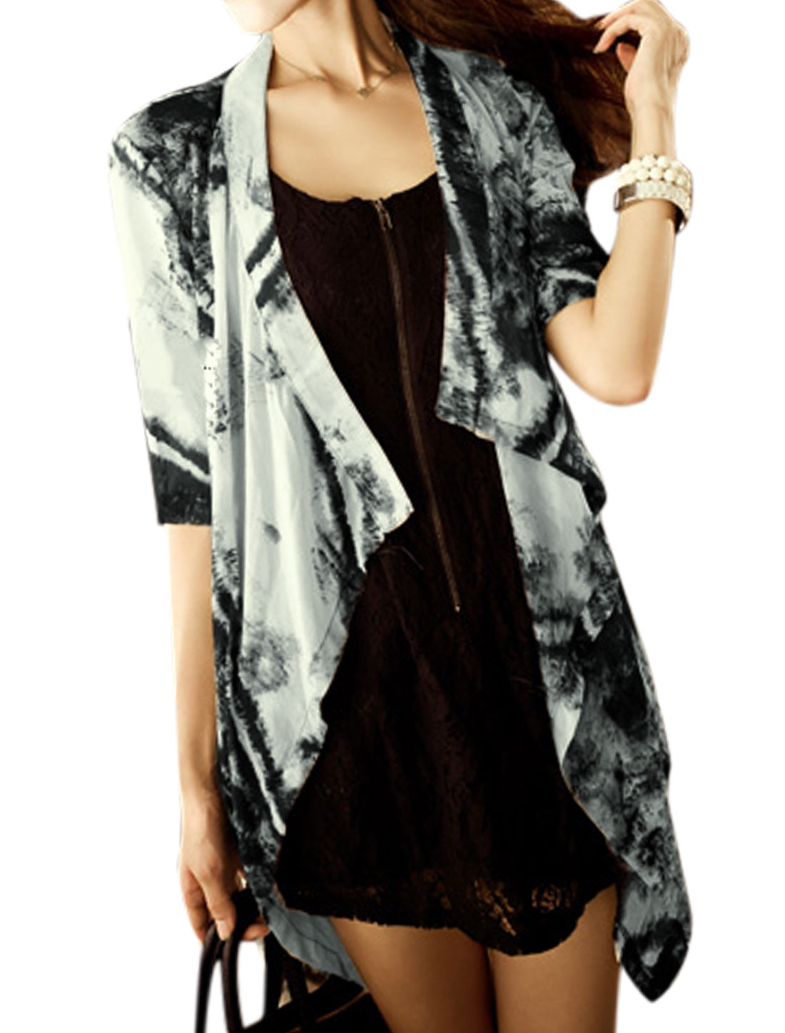 Lady Front Opening Novelty Prints Tie Hem Semi Sheer Cardigan Black White S