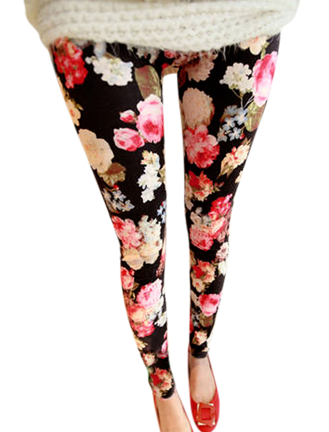 Women Elastic Waist Floral Prints Slim Fit Leggings Multicolor XS