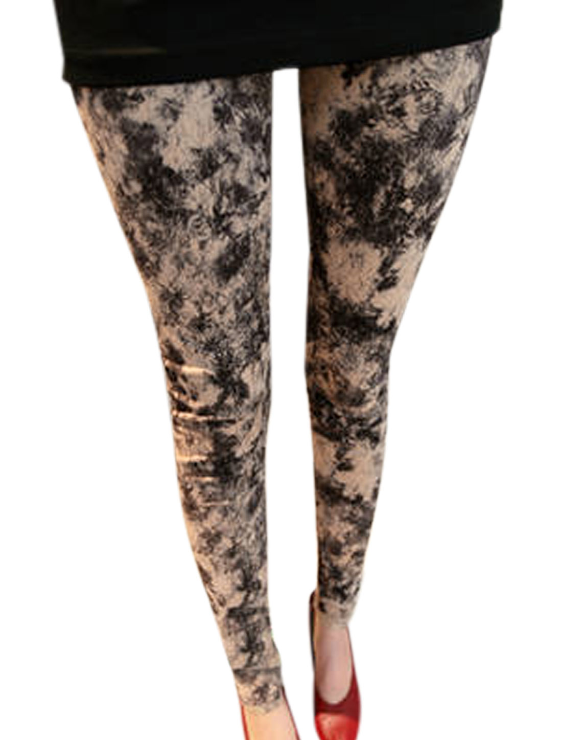 Lady Elastic Waist Novelty Prints Slim Fit Leggings Beige Black XS