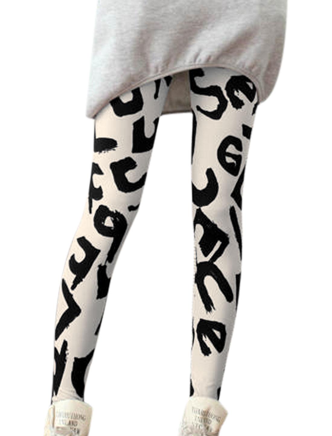 Lady Letters Pattern Elastic Waist Slim Leggings Beige XS