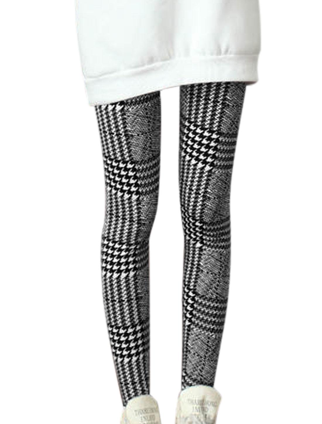 Lady Houndstooth Pattern Elastic Waist Slim Fit Leggings Black White XS