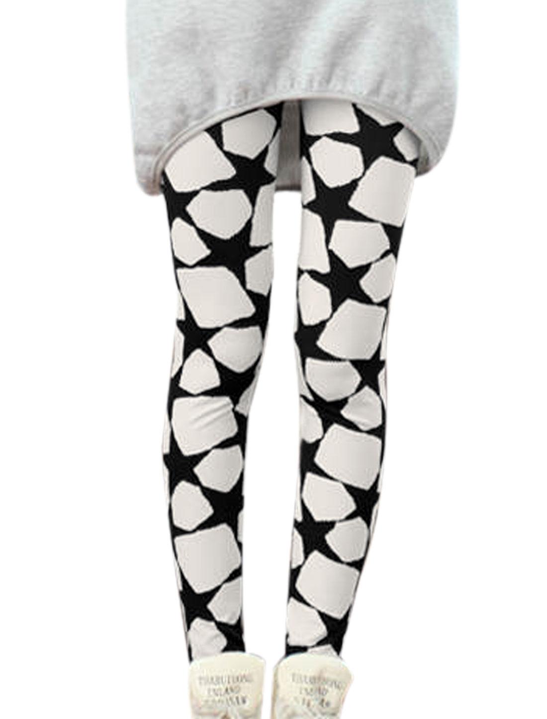 Lady Stars Pattern Elastic Waist Slim Fit Leggings Black White XS