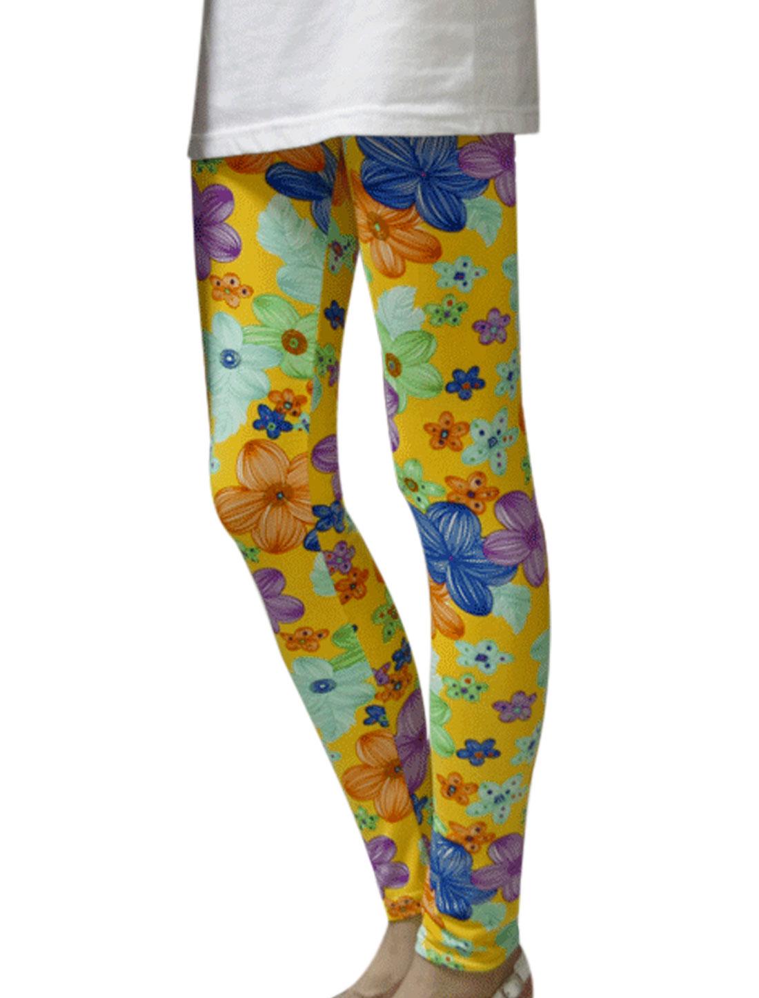 Women Floral Pattern Elastic Waist Slim Fit Leggings Yellow XS