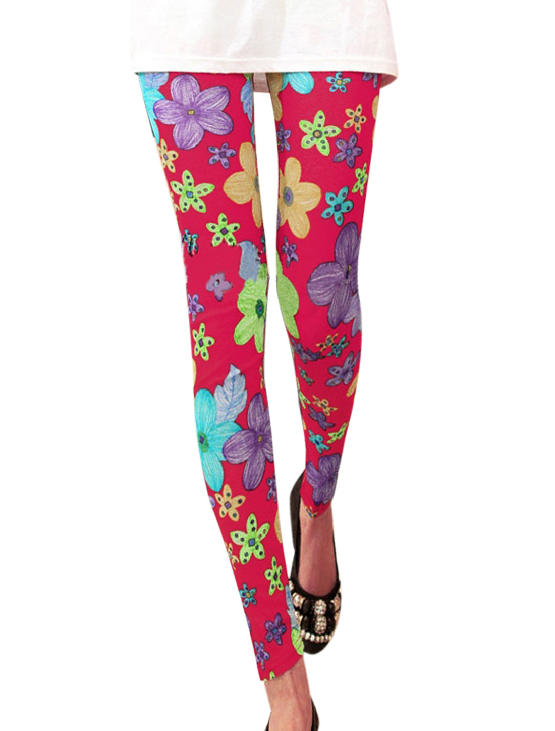 Lady Floral Pattern Stretchy Waist Slim Leggings Fuchsia XS