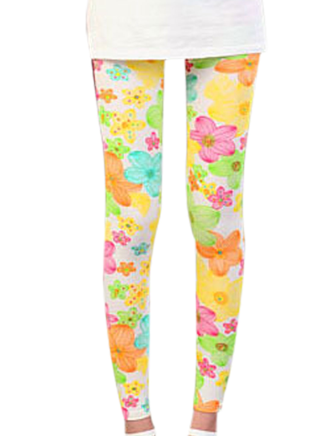 Women Floral Pattern Stretchy Slim Leggings Multicolor XS