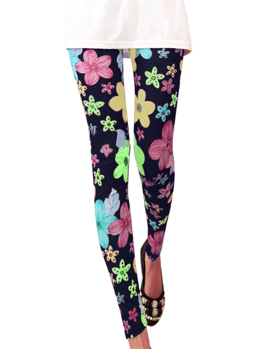 Lady Fashion Style Floral Pattern Skinny Leggings Navy Blue XS