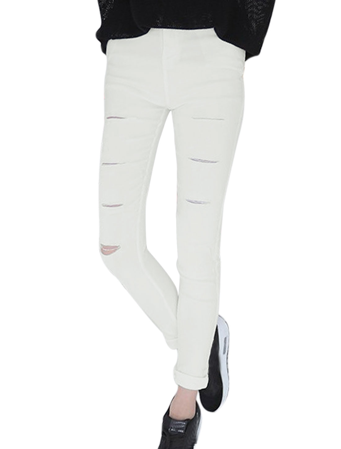 Lady Cut Out Design One Button Closure Front Leisure Pencil Pants White XS