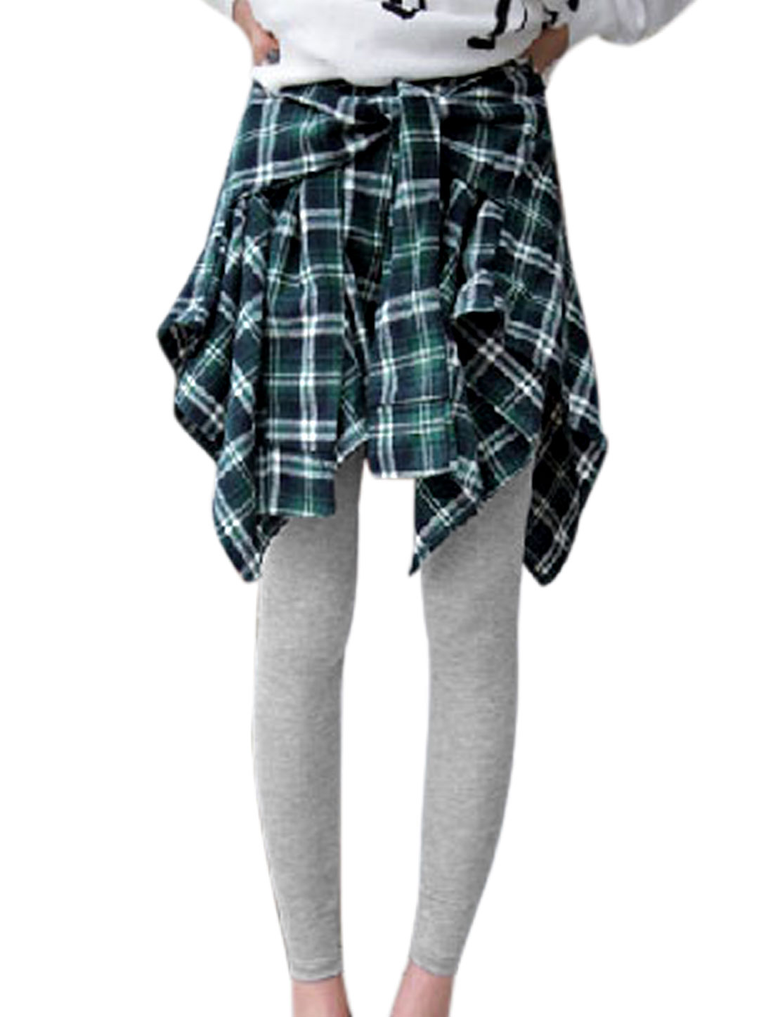 Lady Elastic Waist Zipper Back Layered Design Skorts Pants Green Light Gray XS