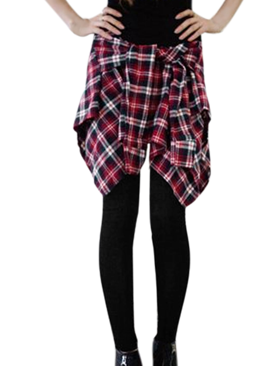 Women Checks Pattern Stretchy Waist Casual Skorts Pants Black Burgundy XS