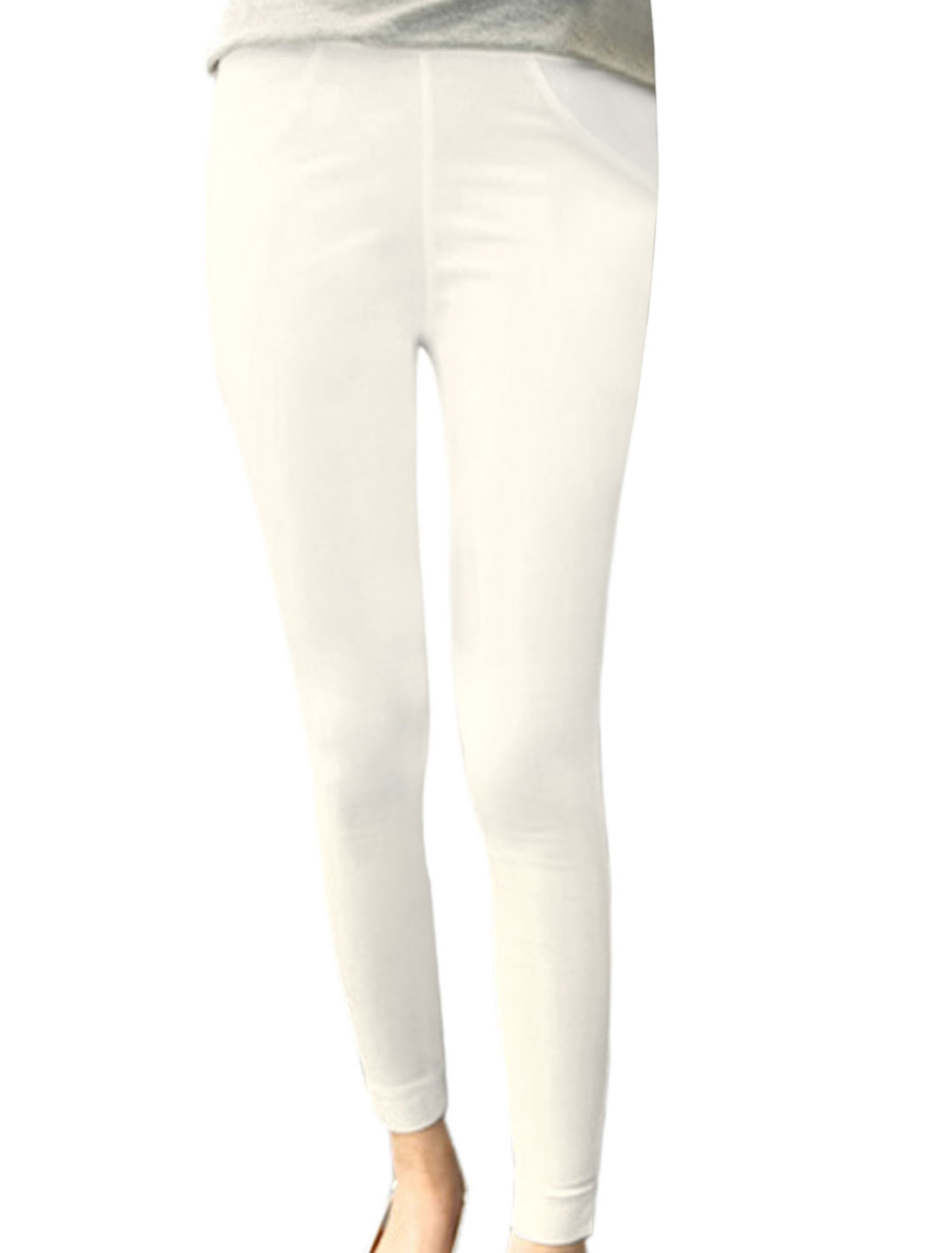 Lady Elastic Waist Split Side Design Slim Fit Pencil Pants White XS