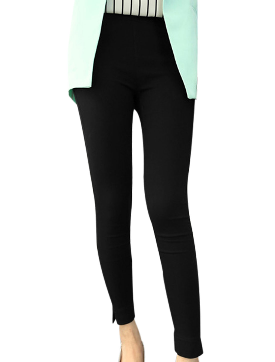Lady Double Slant Pockets Front Stylish Casual Pencil Pants Black XS