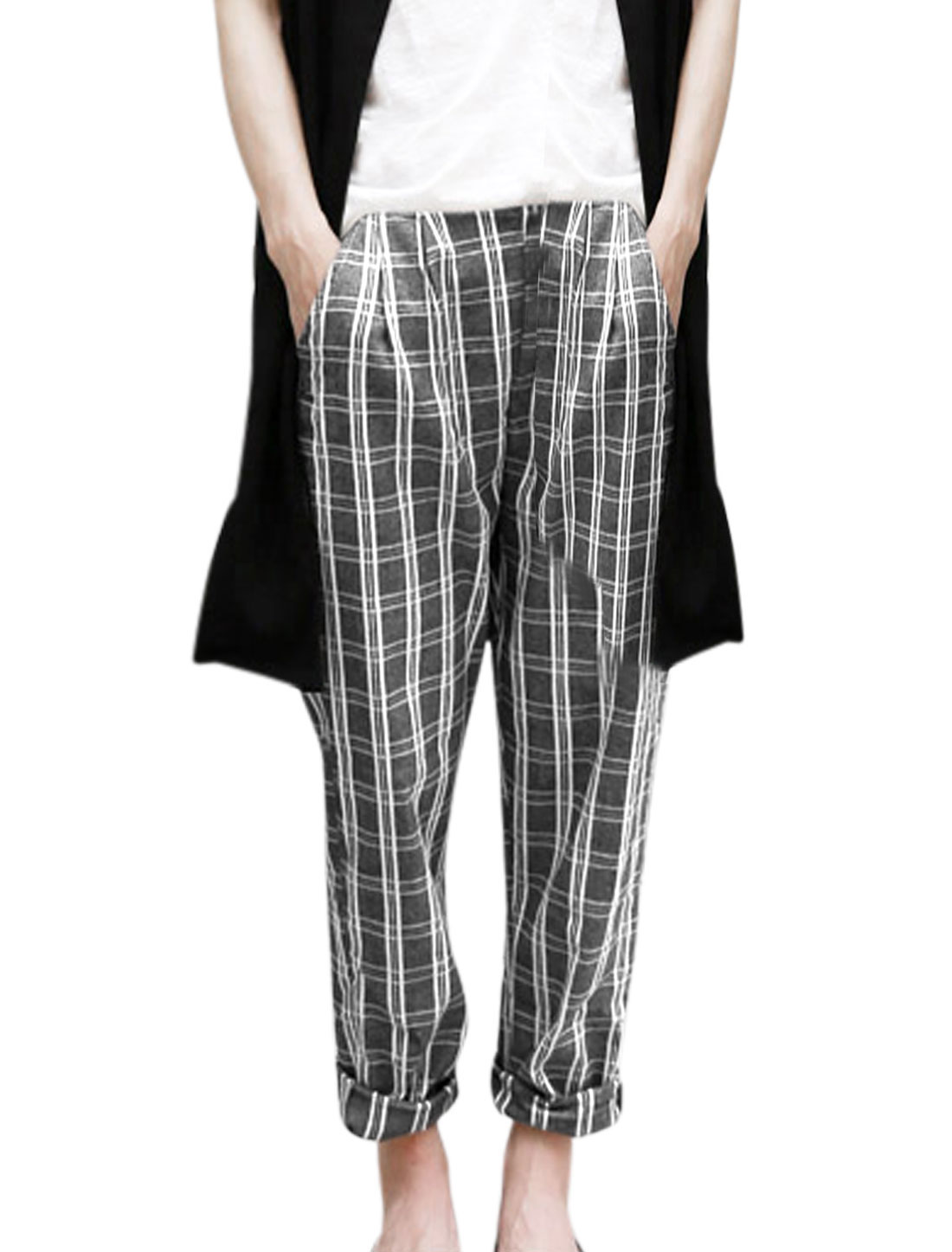 Lady Plaids Pattern Double Slant Pockets Elastic Waist Casual Pants Gray S