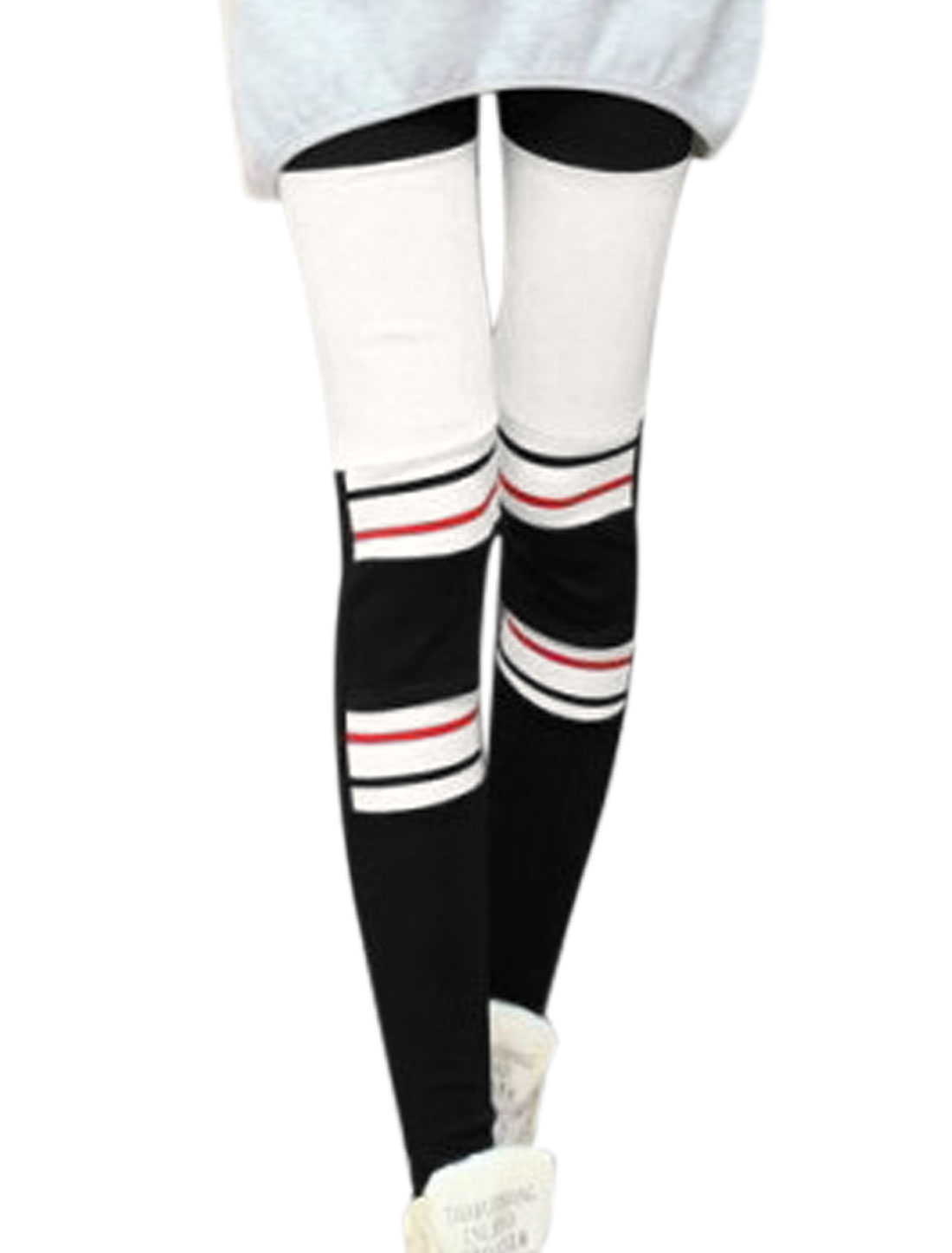 Lady Stripes Detail Color Block Slim Fit Casual Leggings Black White XS