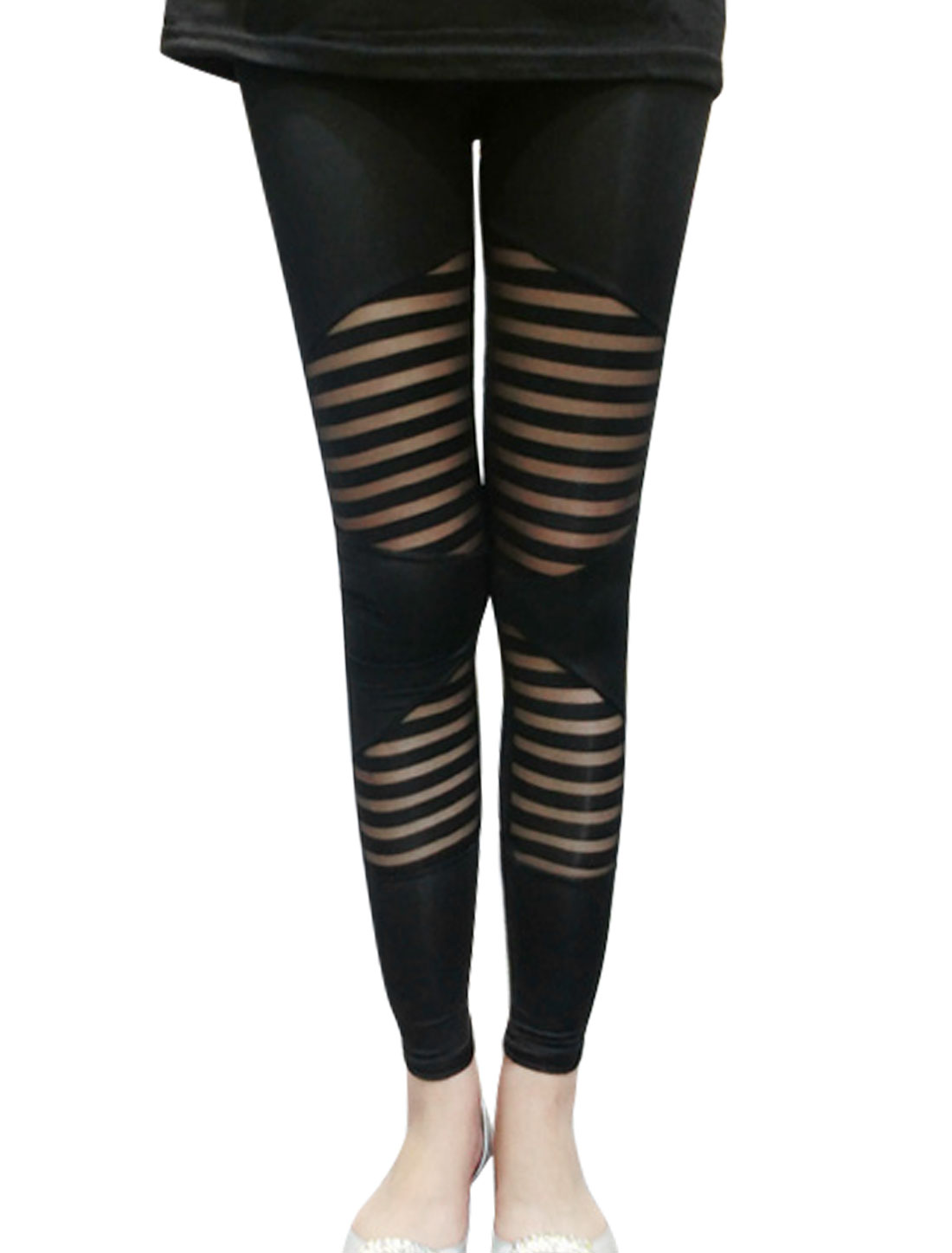 Lady Mesh Panel Elastic Waist Stripes Slim Fit Leggings Black XS