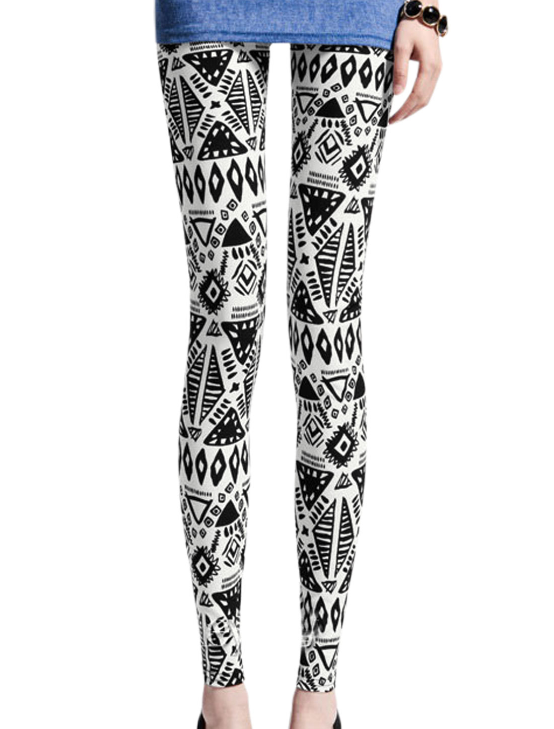 Women Geometric Pattern Elastic Waist Slim Fit Leggings Black White XS