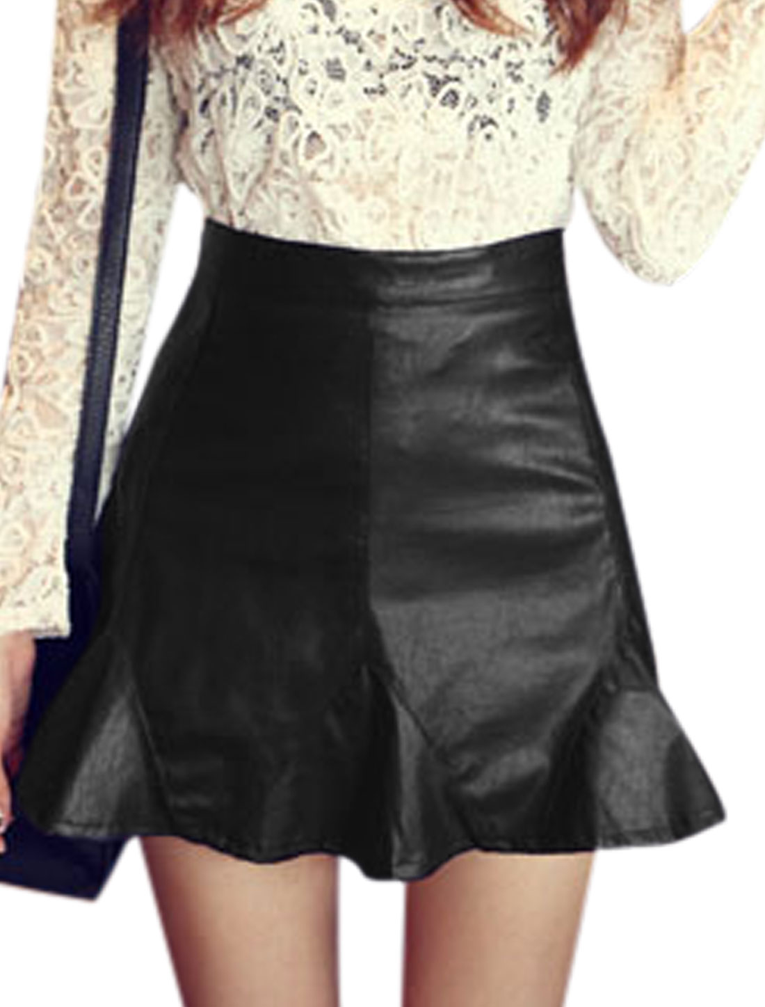 Lady Concealed Zipper Side Flouncing Hem Slim Imitation Leather Skirt Black M