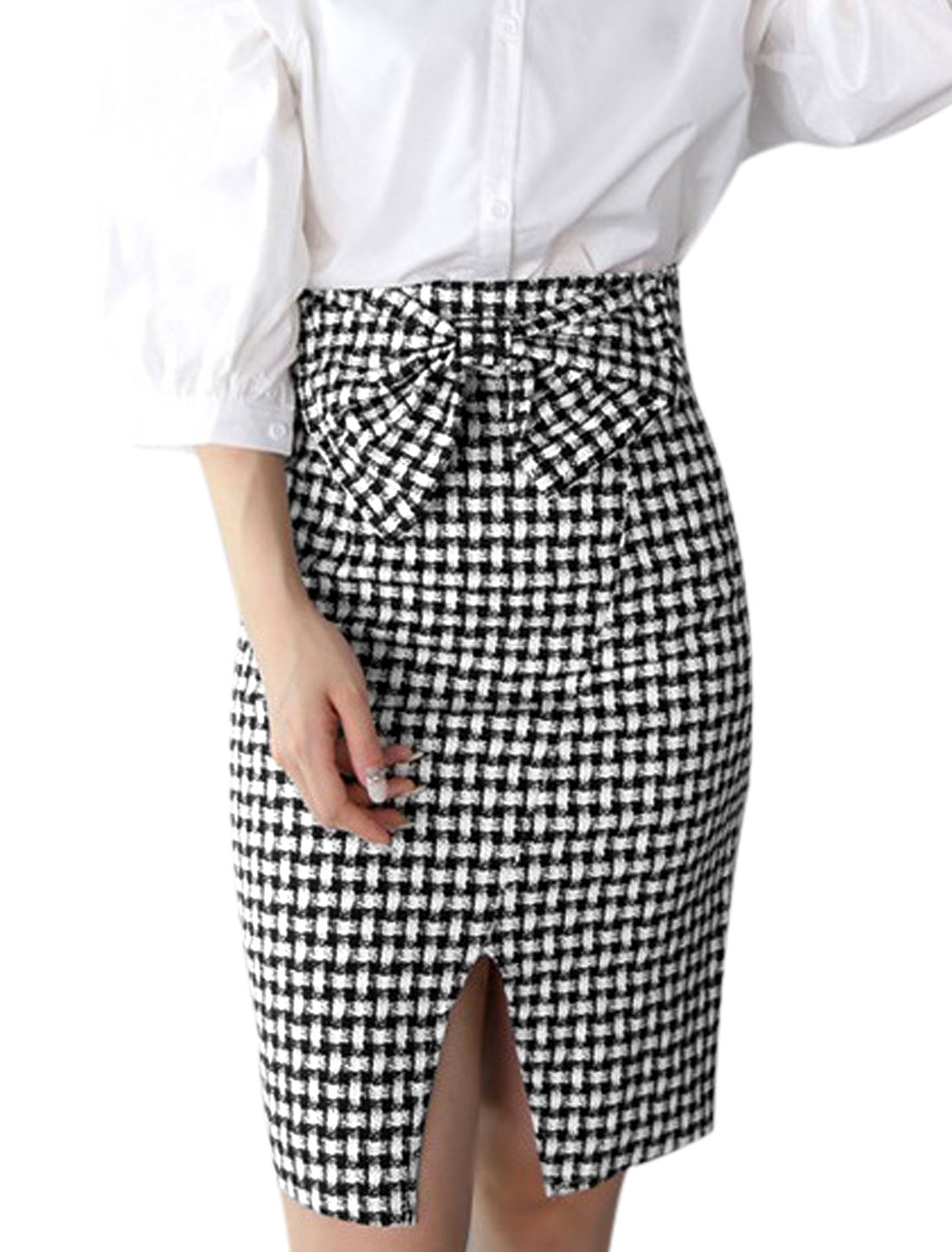 Lady Concealed Zipper Back Plaids Pattern Slim Pencil Skirt Black White S