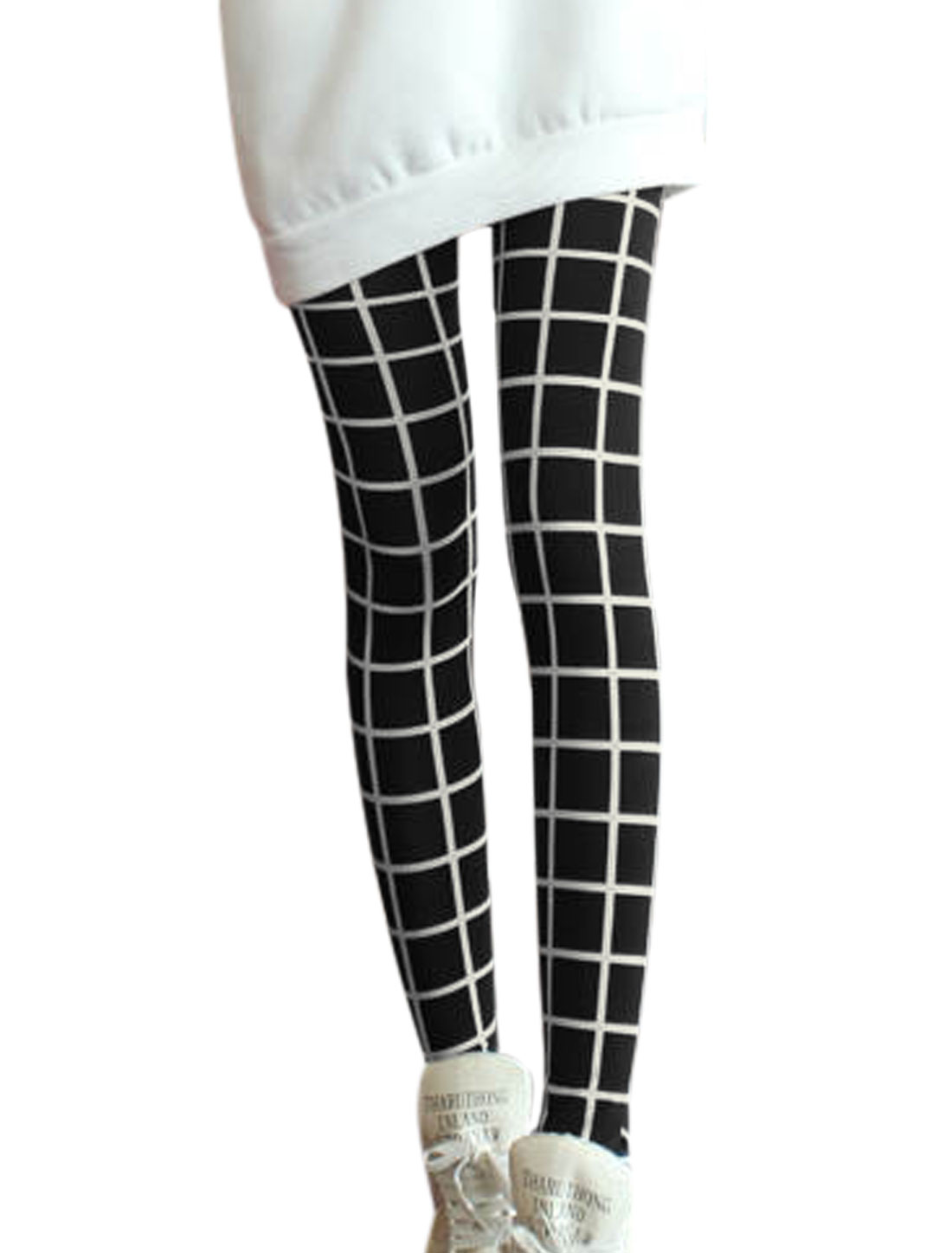 Women Plaids Pattern Elastic Waist Slim Fit Leggings Black XS