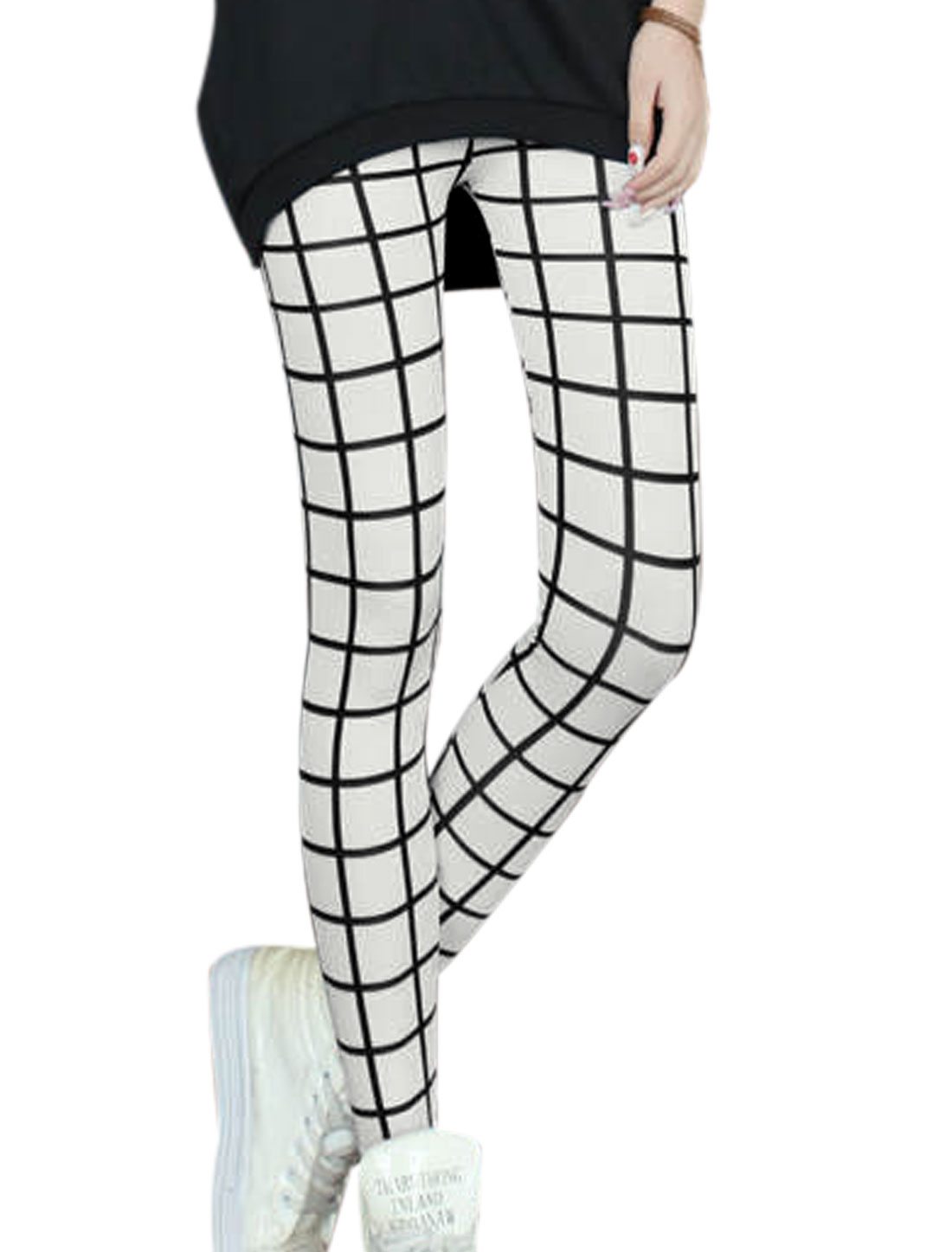 Lady Checks Pattern Stretchy Waist Skinny Leggings White XS