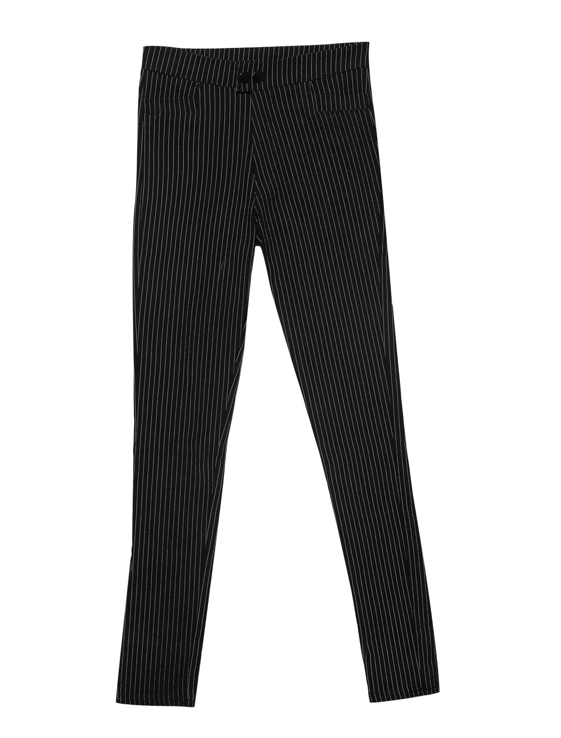 Lady Elastic Waist Stripes Pattern Zip Fly Casual Cropped Pants Black XS
