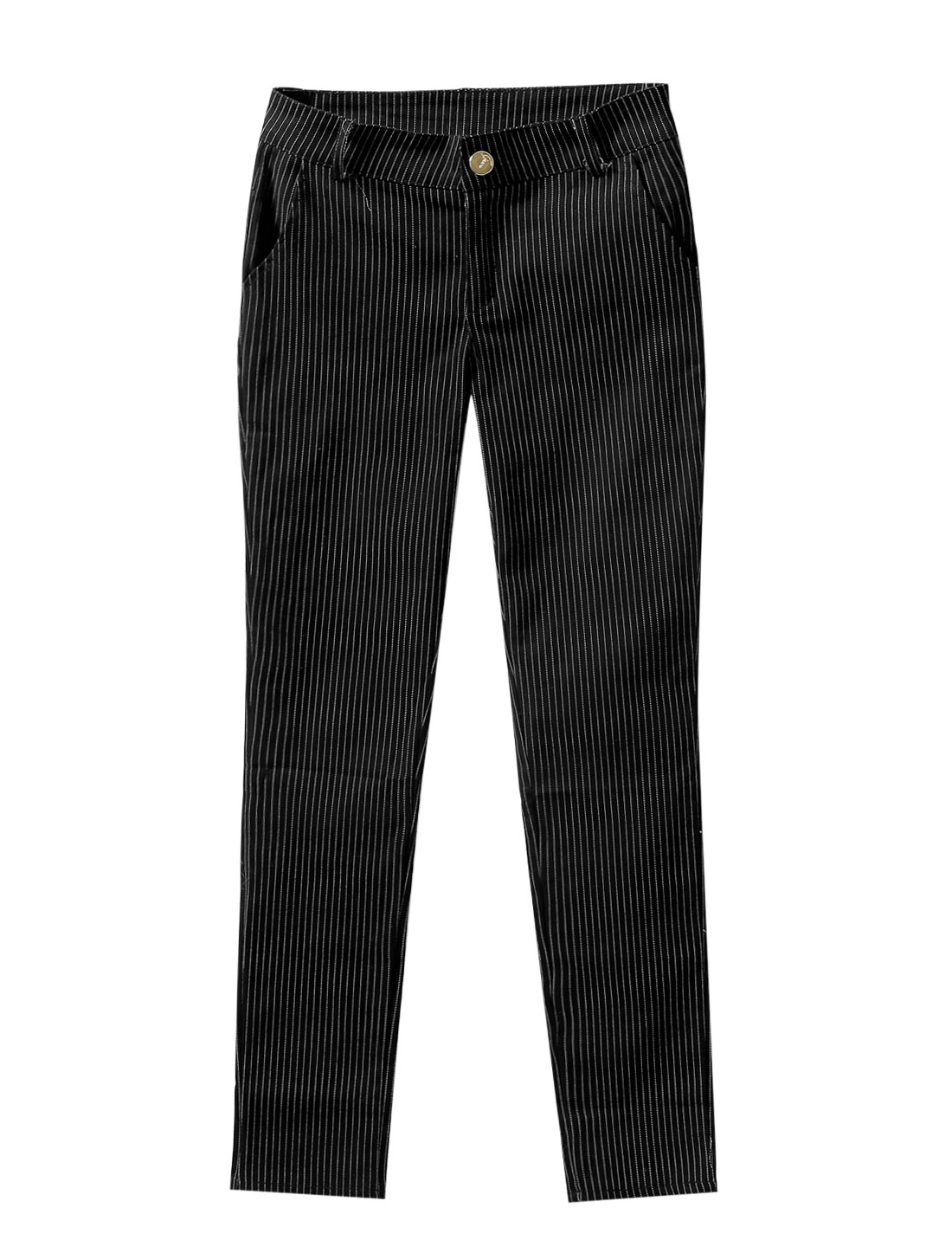 Lady Stripes Pattern One Button Closure Front Casual Cropped Pants Black S