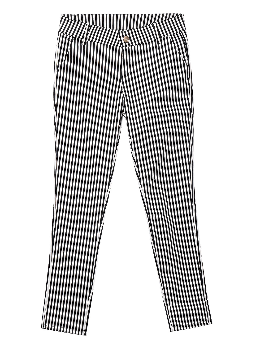 Lady Zip Fly Stripes Pattern Fashion Casual Cropped Pants Black White S