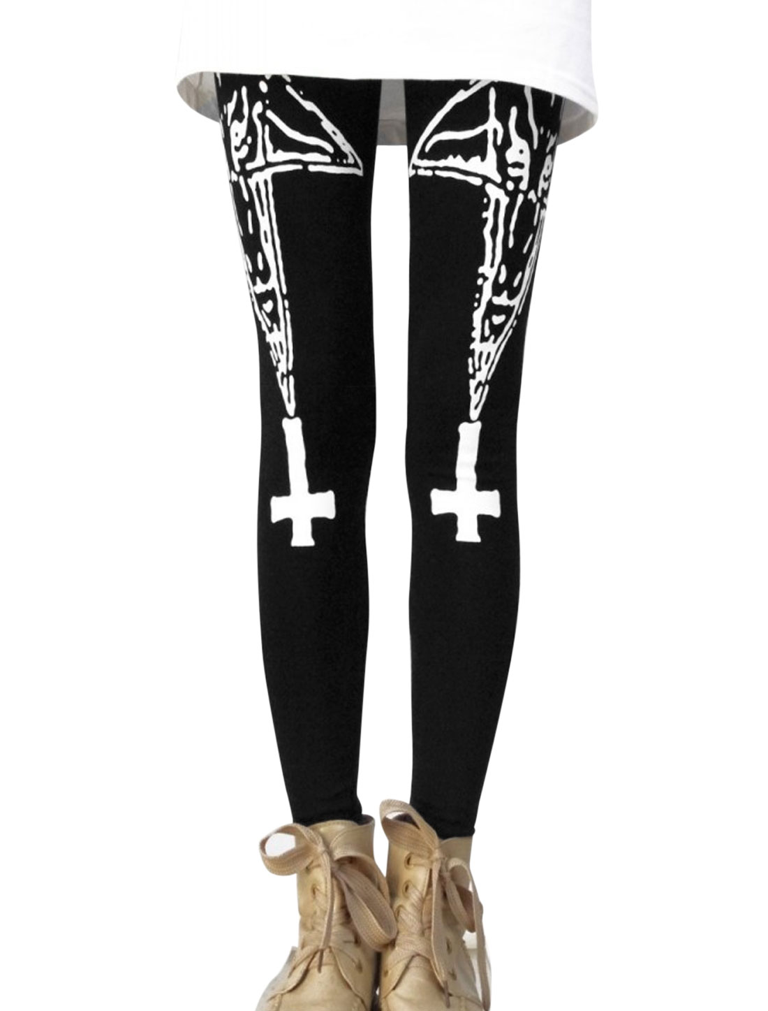 Lady Elastic Waist Stars Cross Pattern Casual Leggings Black XS