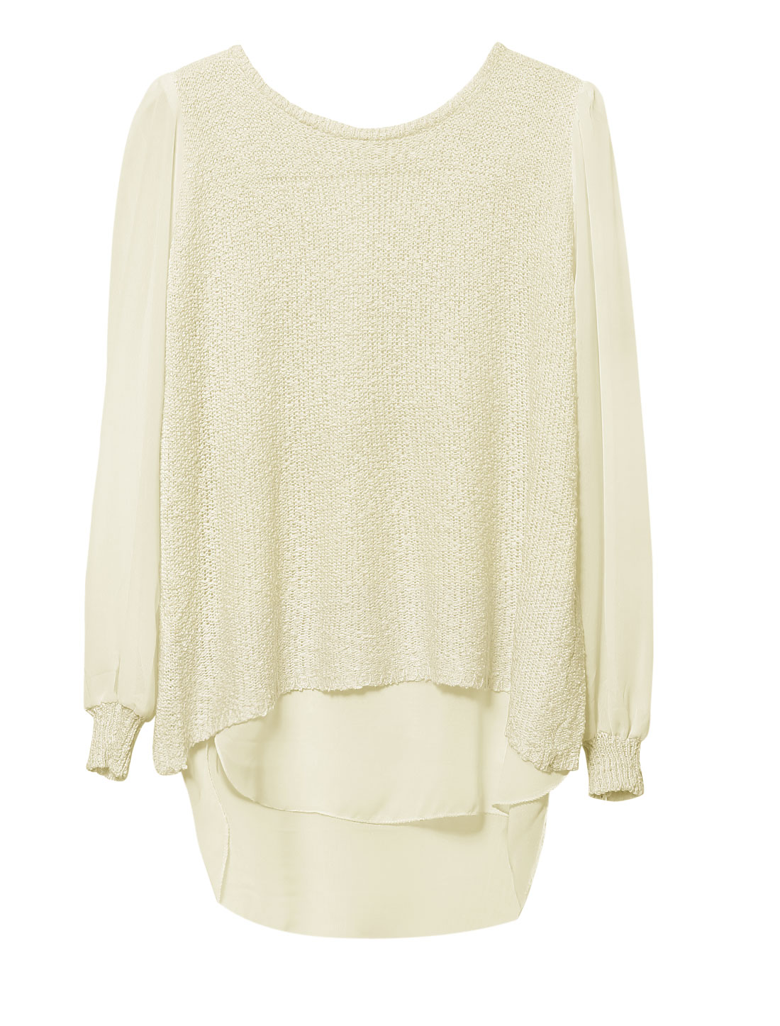 Lady Round Neck Zip Up Back Casual Tunic Knit Top Beige S